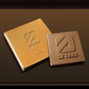 לוחית שוקולד במארז מוזהב